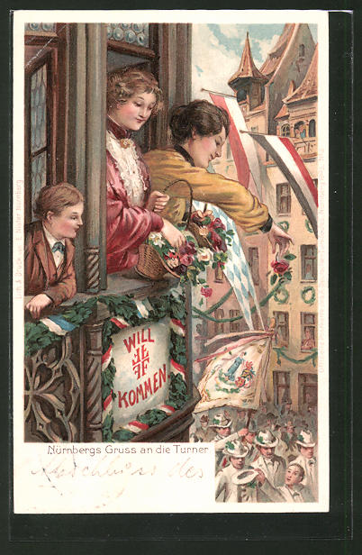 Lithographie Nürnberg, Turner beim Festzug auf der Strasse werden von Frauen mit Rosen bestreut