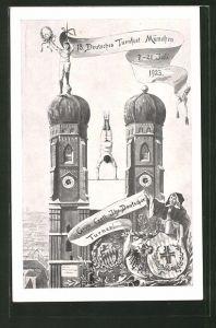 AK München, 13. Deutsches Turnfest, Turner auf der Frauenkirche