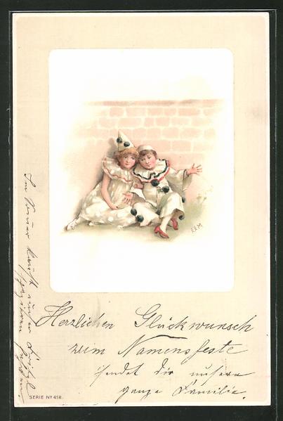 AK Kleines Harlekin-Paar sitzend vor einer Mauer