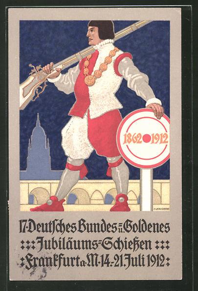 AK Frankfurt a. M., 17. Deutsches Bundes- u. Goldenes Jubiläums-Schiessen 1912, Schütze mit Gewehr