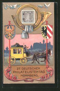 AK Nürnberg, Ganzsache PP52C1, 27. Deutscher Philatelistentag, Postkutsche