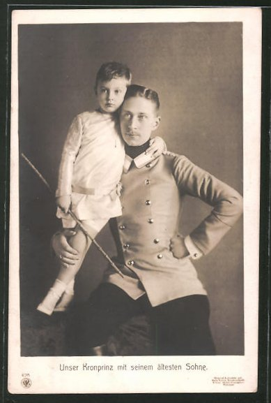 AK Kronprinz Wilhelm von Preussen mit seinem ältesten Sohn