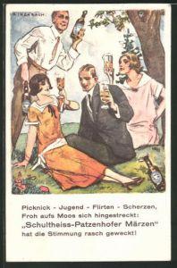 Künstler-AK K. Kirchbach: Gruppe mit Bier beim Picknick, Schultheiss Brauerei-Werbung