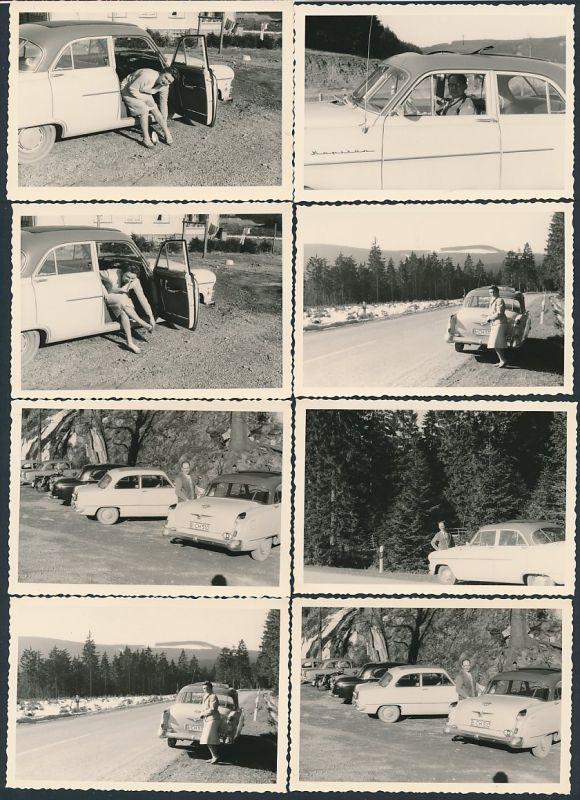 8 Fotografien Auto Opel Kapitän, Limousine mit Faltdach, Paar während einer Urlaubsfahrt mit dem PKW