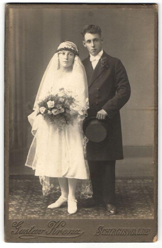 Fotografie Gustav Krenz, Schirgiswalde, Portrait junges Hochzeitspaar