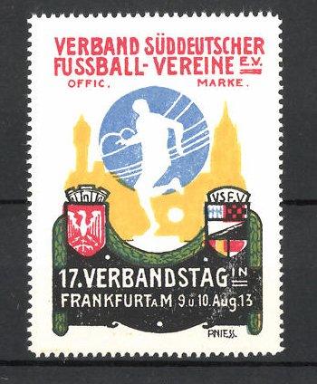 Kunstler Reklamemarke Niess Frankfurt Main Verband Suddeutscher Fussball Vereine Verbandstag 1913 Wappen