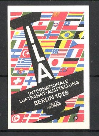 Reklamemarke Berlin, ILA Int. Luftfahrt-Ausstellung 1928, Flugzeug-Silhouette vor internationalen Fahnen
