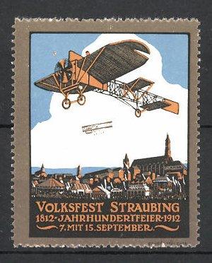 Reklamemarke Straubing, Volksfest & Jahrhundertfeier 1812-1912, Flugzeuge über der Stadt