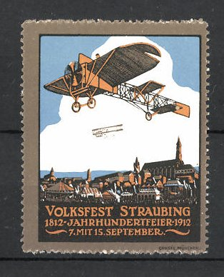 Reklamemarke Straubing, Volksfest & Jahrhundertfeier 1812-1912, Flugzeuge im Flug über der Stadt
