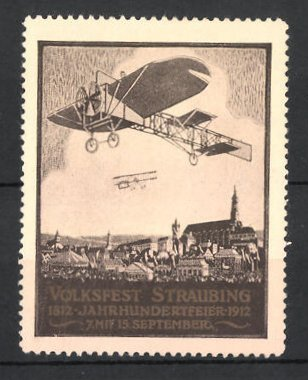 Reklamemarke Straubing, Volksfest und Jahrhundertfeier 1812-1912, Flugzeuge über der Stadt