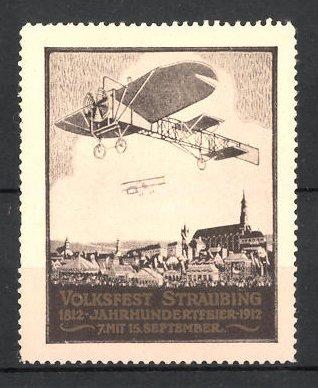 Reklamemarke Straubing, Volksfest & Jahrhundertfeier 1912, Flugzeuge & Stadtmotiv