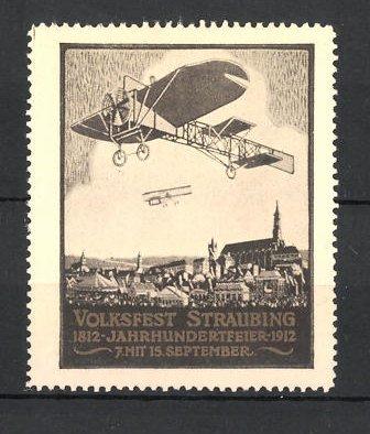 Reklamemarke Straubing, Volksfest & Jahrhundertfeier 1912, Flugzeuge und Stadtmotiv