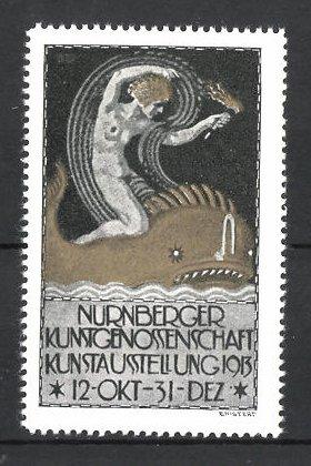 Reklamemarke Nürnberg, Kunstausstellung 1913, Frauenakt mit Fackel reitet auf einem Walfisch