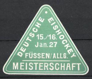 Präge-Reklamemarke Füssen, Deutsche Eishockey Meisterschaft 1927 0