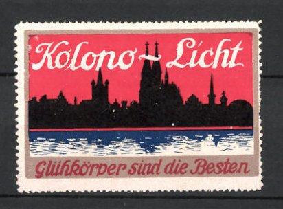 Reklamemarke Kolono-Licht Glühkörper, Stadtsilhouette mit Kathedrale
