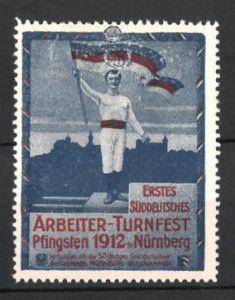 Reklamemarke Nürnberg, 1. Süddeutsches Arbeiter-Turnfest 1912, Athlet mit Fahne vor der Stadt 0