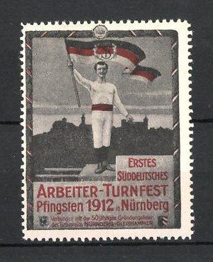 Reklamemarke Nürnberg, 1. Süddeutsches Arbeiter-Turnfest 1912, Athlet mit Fahne vor Stadtsilhouette 0