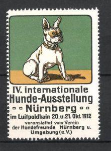 Reklamemarke Nürnberg, IV. Int. Hunde-Ausstellung 1912, französische Bulldogge, grün 0