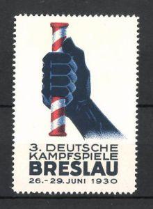 Reklamemarke Breslau, 3. Deutsche Kampfspiele 1930, Hand hält Staffelstab 0