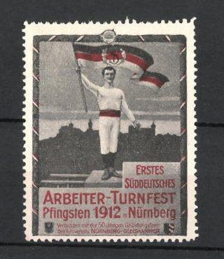Reklamemarke Nürnberg, 1. Süddeutsches Arbeiter-Turnfest 1912, Turner mit Fahne vor Stadtsilhouette
