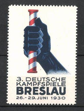 Reklamemarke Breslau, 3. Deutsche Kampfspiele 1930, Hand mit Staffelstab