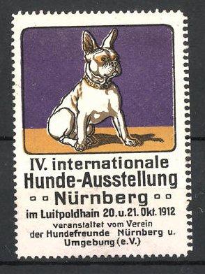 Reklamemarke Nürnberg, IV. Int. Hunde-Ausstellung 1912, französische Bulldogge, lila