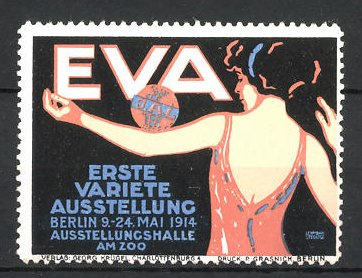 Künstler-Reklamemarke Lehmann, Berlin, EVA 1. Variete Ausstellung 1914, Tänzerin balanziert einen Ball