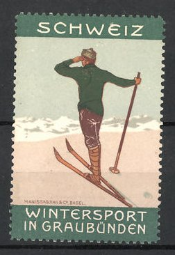 Reklamemarke Graubünden, Wintersport in Graubünden, Skifahrer in den Schweizer Alpen