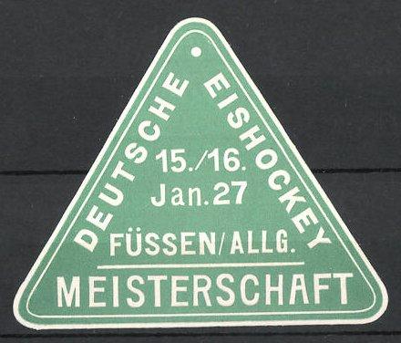 Präge-Reklamemarke Füssen, Deutsche Eishockey Meisterschaft 1927
