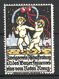 Reklamemarke Aschaffenburg, Zweigverein des bayerischen Frauenvereins vom RotenKreuz e.V., Putten am Stadtrand