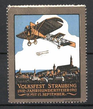 Reklamemarke Straubing, Volksfest & Jahrhundertfeier 1912, Flugzeuge über der Stadt