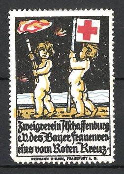 Reklamemarke Aschaffenburg, Zweigverein des bayer. Frauenvereins vom Roten Kreuz e.V., Putten mit Fahne und Fackel