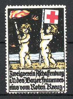 Reklamemarke Aschaffenburg, Zweigverein des bayer. Frauenvereins vom Roten Kreuz e.V., Putten mit Fahne & Fackel