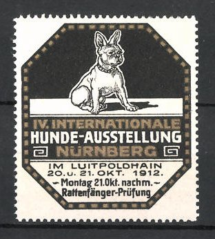 Reklamemarke Nürnberg, IV. Int. Hunde-Ausstellung 1912, französische Bulldogge, silber
