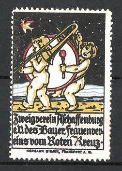 Reklamemarke Aschaffenburg, Zweigverein des bayer. Frauenvereins vom Roten Kreuz e.V., Putten mit Trommel & Posaune