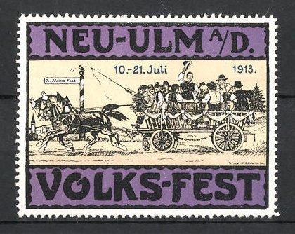 Reklamemarke Neu-Ulm, Volks-Fest 1913, Bürger fahren mit Pferdefuhrwerk zum Fest, lila