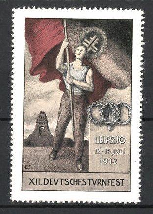 Reklamemarke Leipzig, XII. Deutsches Turnfest 1913, Athlet mit deutscher Fahne vor Völkerschlschtdenkmal