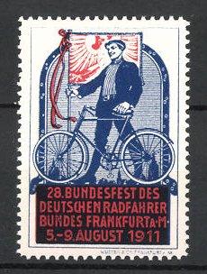 Reklamemarke Frankfurt / Main, 28. Bundesfest des Deutschen Radfahrerbundes 1911, Radfahrer mit Fahrrad & Fahne