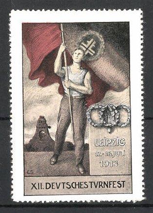 Reklamemarke Leipzig, XII. Deutsches Turnfest 1913, Athlet mit Deutscher Fahne, Völkerschlachtdenkmal im Hintergrund