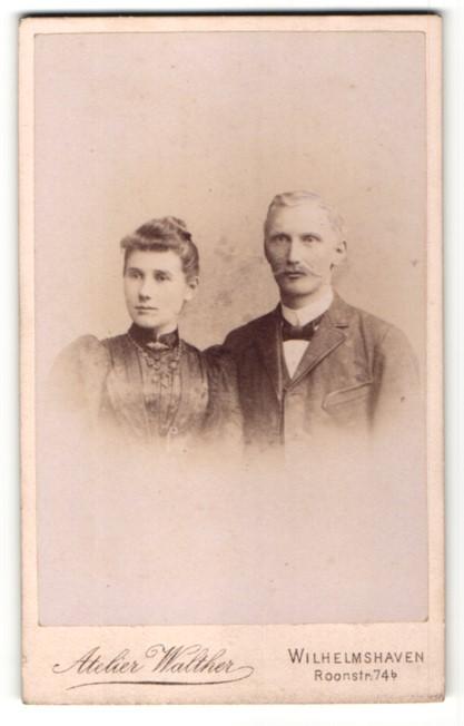 Fotografie Atelier Walther, Wilhelmshaven, Portrait bürgerliches junges Paar