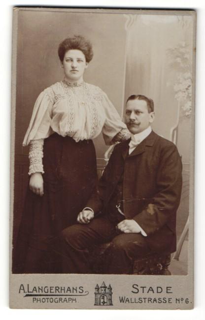 Fotografie A. Langerhans, Stade, Portrait bürgerliches Paar