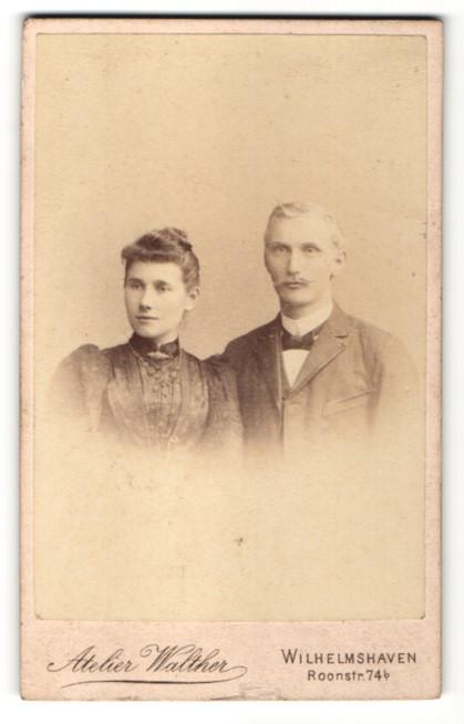 Fotografie Atelier Walther, Wilhelmshaven, Portrait bürgerliches Paar