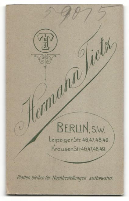 Fotografie Hermann Tietz, Berlin-SW, Portrait Herr mit Schnauzbart 1