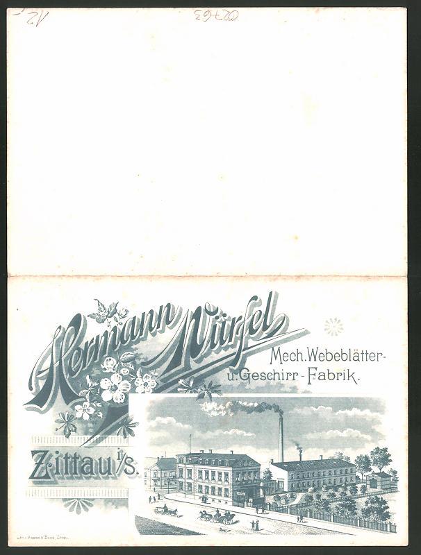 Lithographie Zittau, Mech. Webeblätter- und Geschirr-Fabrik Hermann Würfel