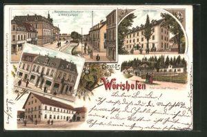 Lithographie Bad Wörishofen, Bachstrasse mit Hotel Luitpold, Hotel Urban, Hotel Krone, Hotel zur Stadt München