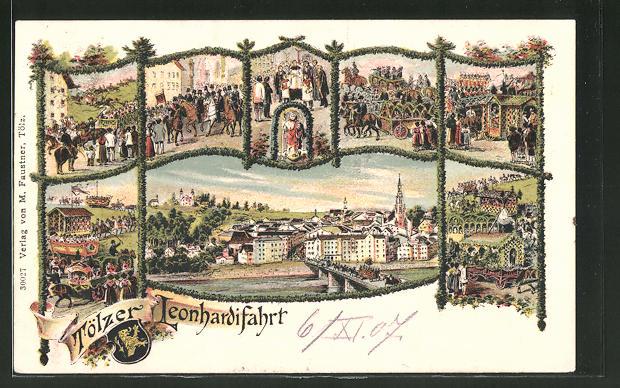 Lithographie Bad Tölz, Motive von der Tölzer Leonhardifahrt