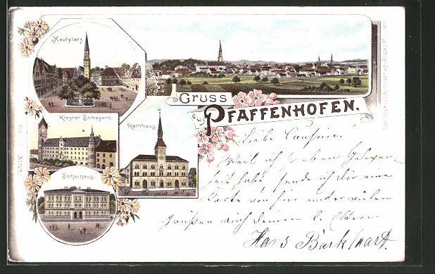 Lithographie Pfaffenhofen, Schulhaus, Kloster Scheyern, Hauptplatz, Rathaus, Panorama