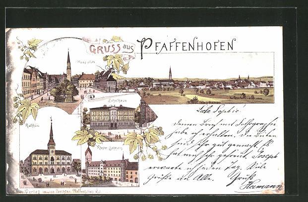 Lithographie Pfaffenhofen, Schulhaus, Hauptplatz, Rathaus, Kloster Scheyern, Panorama