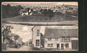 AK Blankenrath, Strassenansicht, Bakerei Peter Adams, Panorama mit Kirche