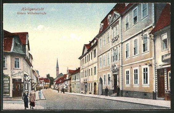 AK Heiligenstadt, Untere Wilhelmstrasse mit Geschäft Heinrich Rust